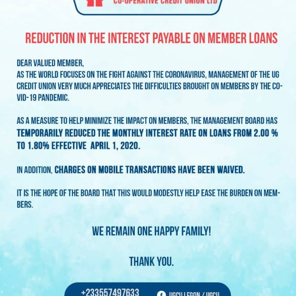 Reduction in the Interest Payable on Member Loans